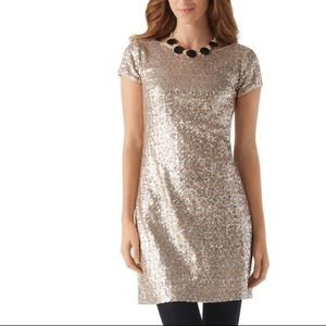 WHBM Gold Sequined Holiday Cocktail Party Dress